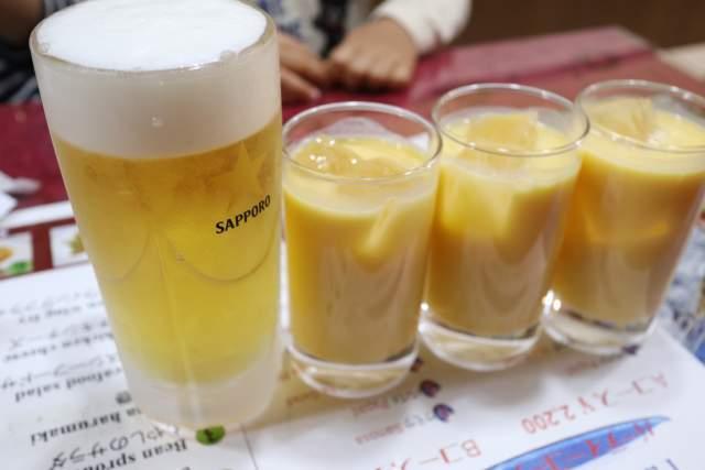 ミランの生ビールとマンゴーラッシー