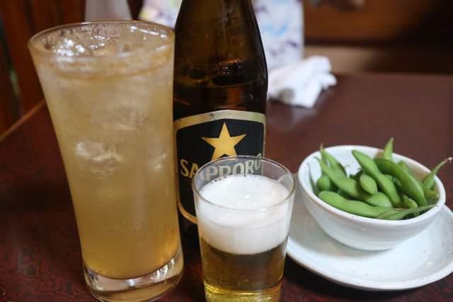 鳥ぎんのあらごし梅酒とビール