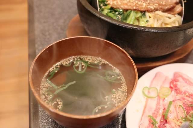 くい亭のカルビ石焼きビビンバのスープ