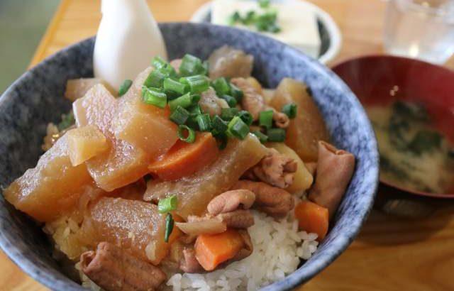 冬に食べたい豚モツ煮込み丼@どどん