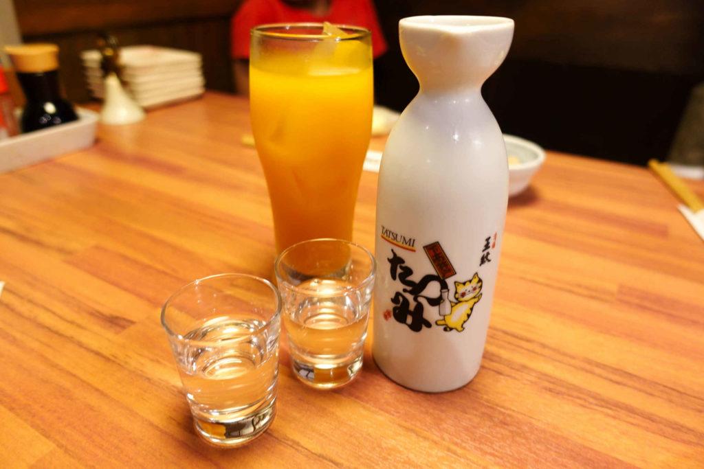 オレンジジュースと日本酒