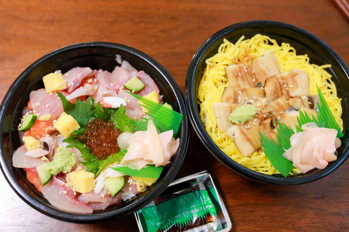 寿司すえひろの海鮮バラちらし&穴子丼