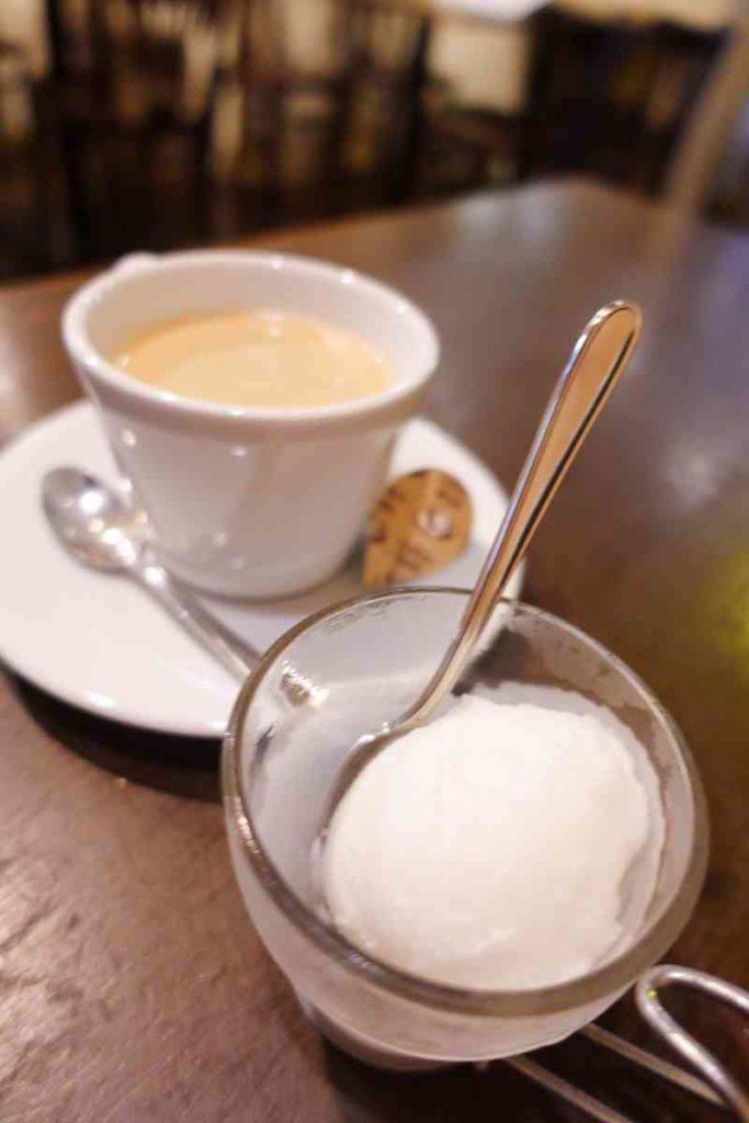 イルチェーロのコーヒーとレモンシャーベット