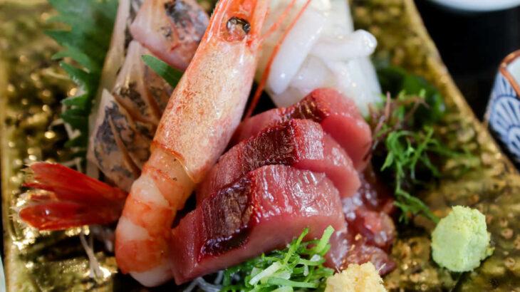 海鮮居酒屋『爺』の巨大甘えびの刺身定食と珍味 真鯛白子ポン酢
