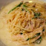明大前 イタリアン イルチェーロで明太子のクリームスパゲッティ